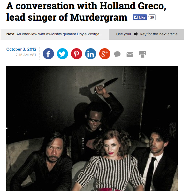 Murdergram Q&A with The Examiner